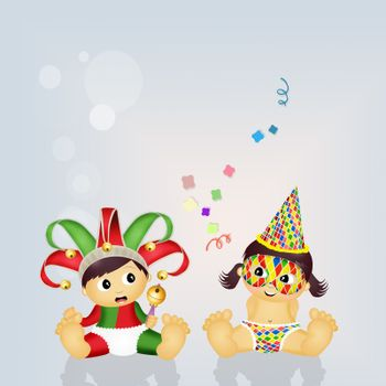 illustration of babies with Carnival costume