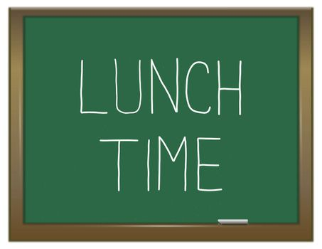 Illustration depicting a green chalkboard with a lunch time concept.
