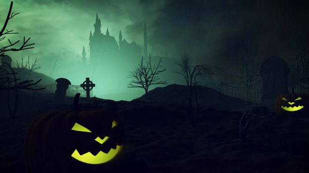 3D rendering of Halloween pumpkins and dark castle on a Graveyard.