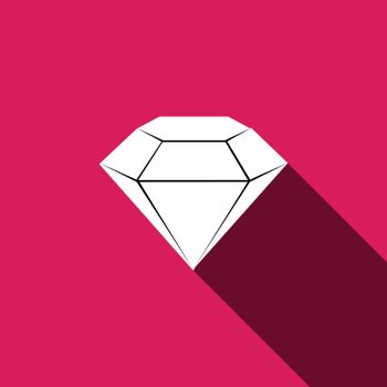 diamond Icon with long shadow. Vector illustration EPS 10