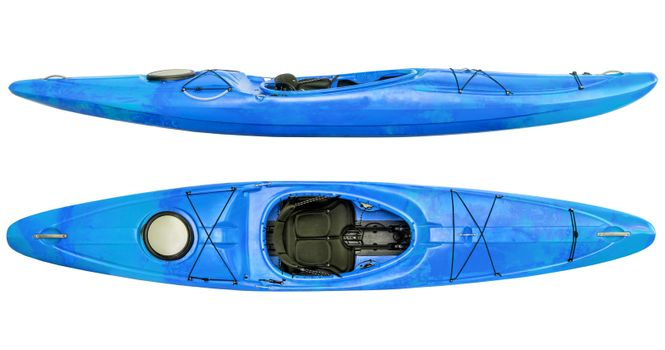 side and top view of crossover kayak (whitewater and river running kayak) isolated on white