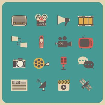set of retro communication icon, old technology