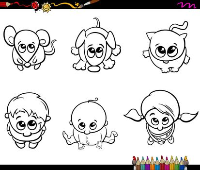 Black and White Cartoon Illustration of Cute Children and Pets Characters Set for Coloring Book