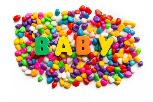 baby word on colorful stone