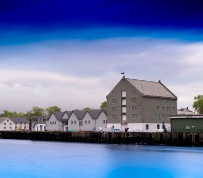 Horizontal Norway port townscape background