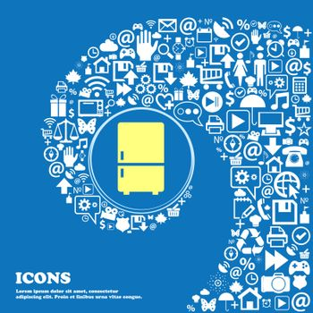 Refrigerator icon . Nice set of beautiful icons twisted spiral into the center of one large icon. Vector
