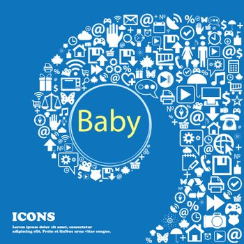 Baby on board sign icon. Infant in car caution symbol. Baby-pacifier nipple . Nice set of beautiful icons twisted spiral into the center of one large icon. Vector