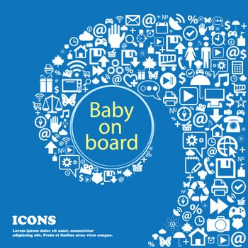 Baby on board sign icon. Infant in car caution symbol . Nice set of beautiful icons twisted spiral into the center of one large icon. Vector
