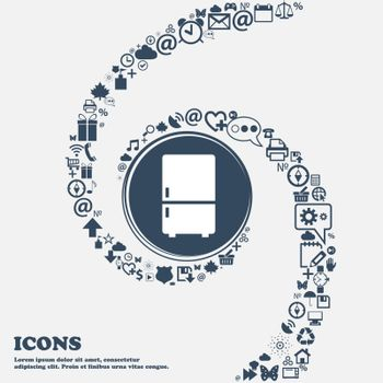 Refrigerator icon in the center. Around the many beautiful symbols twisted in a spiral. You can use each separately for your design. Vector