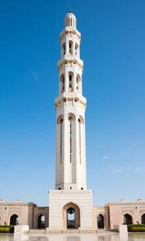 The main minaret at Sultan Qaboos Grand Mosque in Muscat, the main mosque of The Sultanate of Oman.