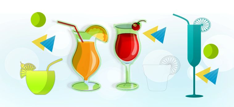 background with glass cocktail and fruit