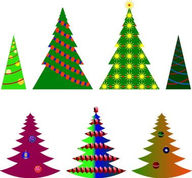 vector image seven Christmas trees with beautiful balls and decorations on a white background (eps10)