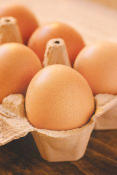 Eggs in cardboard box