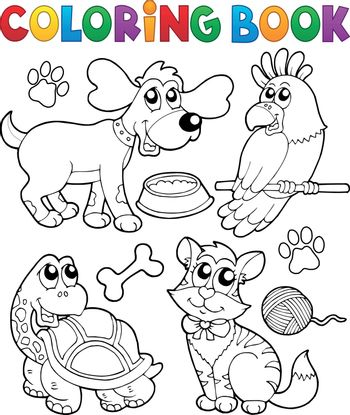Coloring book with pets 3 - eps10 vector illustration.