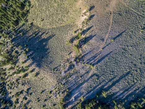Aerial view of a back country road in North Park, Colorado