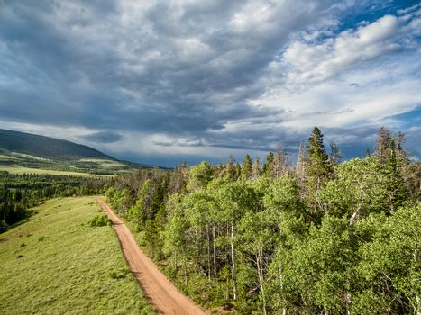 aerial view  of a backcountry road in Rocky Mountains - Sand Creek Road in northern Colorado