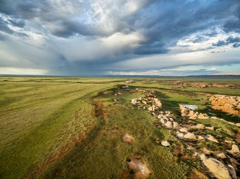Storm clouds over prairie at Sand Creek National Natural Landmark, Albany County, Wyoming -aerial view