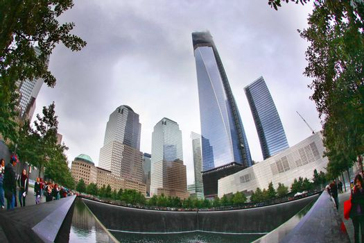 NEW YORK CITY - SEPTEMBER. 9: NYC's 9/11 Memorial at World Trade Center Ground Zero seen on 9 september, 2012. The memorial was dedicated on the 10th anniversary of the Sept. 11, 2001 attacks.