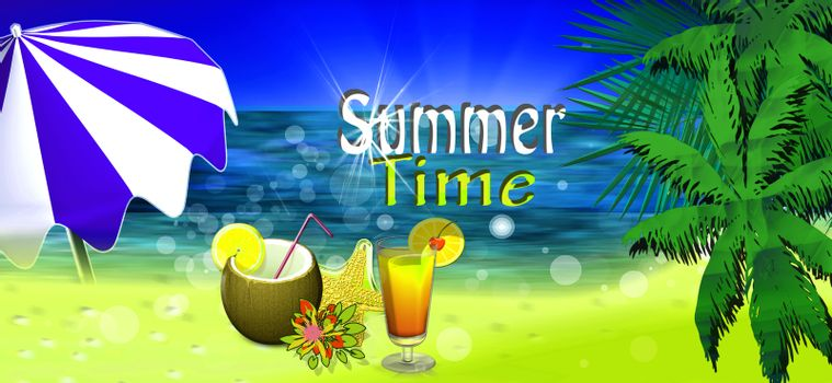 beach witn palms and sea and umbrella