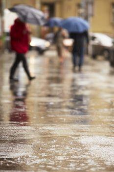 City street in heavy rain - selective focus