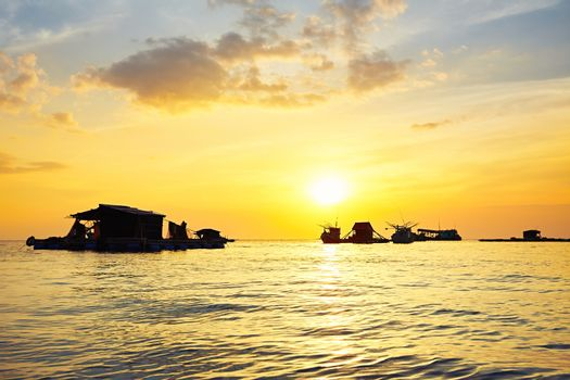 Fishing village on the sea - Phu Quoc island, Vietnam