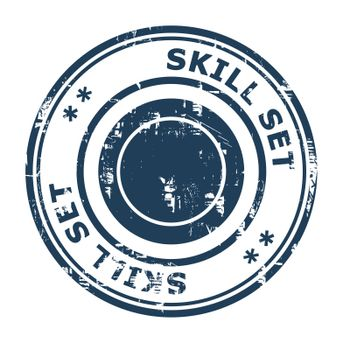 Skill set business concept rubber stamp