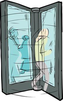 People Moving in Revolving Door