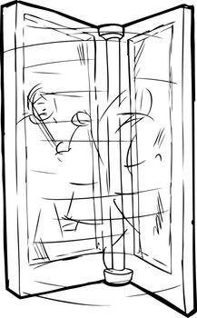 Outline of People in Revolving Door
