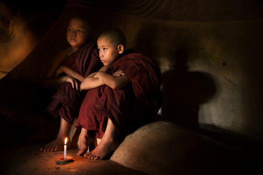 Buddhist novices inside temple