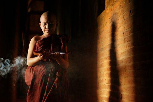 Buddhist novices learning