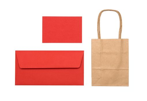 red envelope and bag on a white background