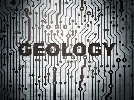 Studying concept: circuit board with Geology