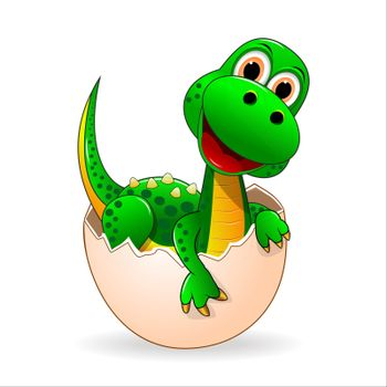 Small green dinosaur who just hatched from the egg.