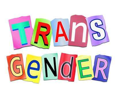 Illustration depicting a set of cut out printed letters arranged to form the word transgender.