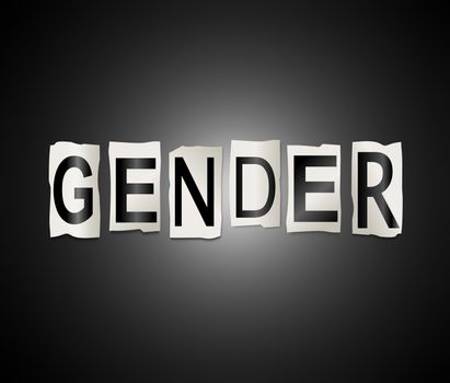 Illustration depicting a set of cut out printed letters arranged to form the word gender.