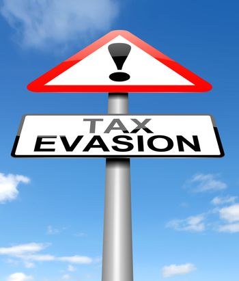 Illustration depicting a sign with a tax evasion concept.