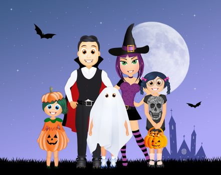 illustration of masked family to halloween