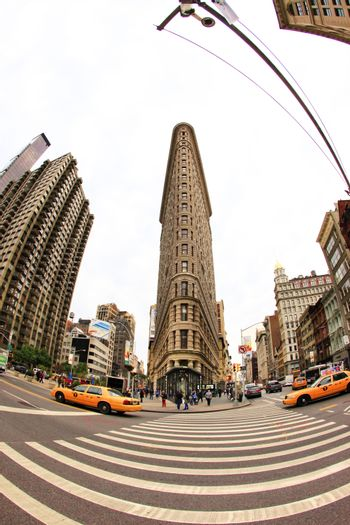New York, USA - October 12, 2012: Flat Iron building facade, Considered to be one of the first skyscrapers ever built in New York on October 12, 2012.
