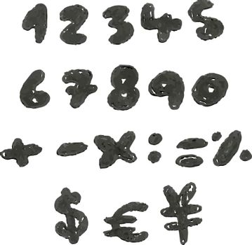 Vector hand drawn blackened numbers and math signs