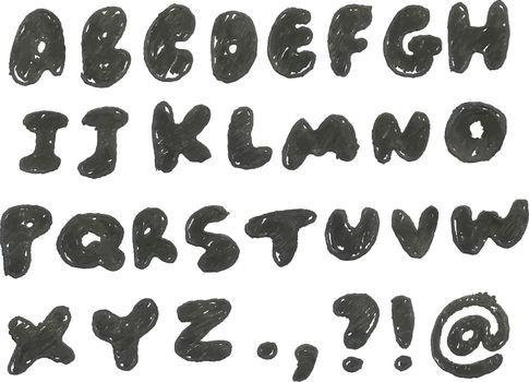 Hand drawn blackened alphabet