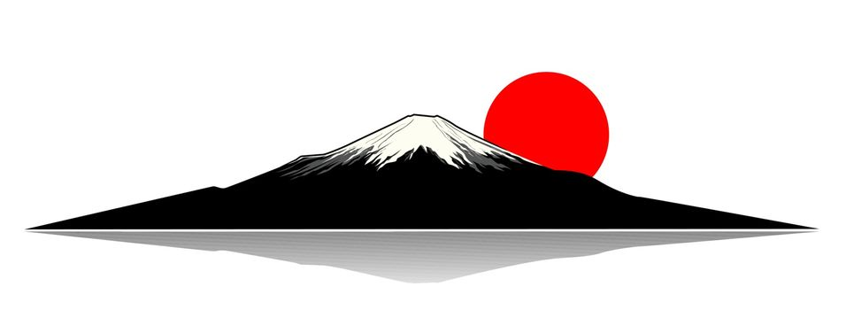 Mount Fuji and the red sun silhouette.
