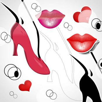 background with heart and lips and shoes