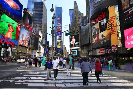 New York, USA - May 17: Times Square, featured with Broadway Theaters and huge number of LED signs, is a symbol of New York City and the United States, May 17, 2013 in Manhattan, New York City