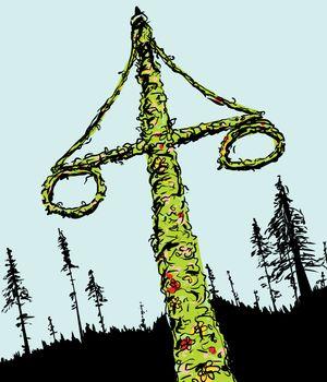 Swedish Midsummer Maypole and Forest