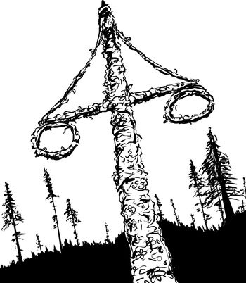 Outlined Swedish Midsummer Maypole and Woods