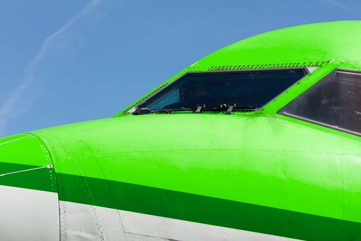 Cockpit close up of jet airplane