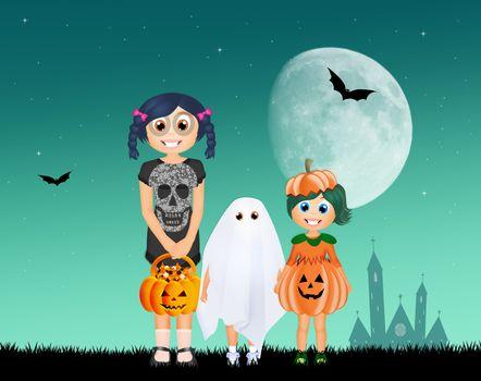 illustration of children with Halloween costume