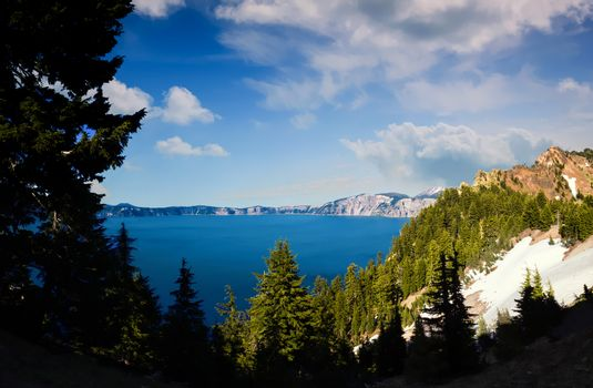 Crater Lake, Oregon on a Sunny Day