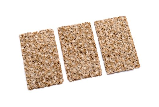 Group of crispbreads isolated on white
