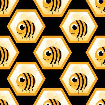 seamless pattern with honeybee